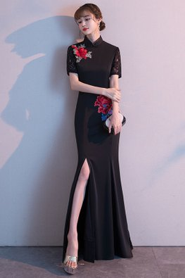Black Lace Sleeves Side Floral Embroidery Front Slit Gown