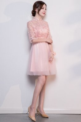Pink Illusion Mandarin Collar Lace-up Dress