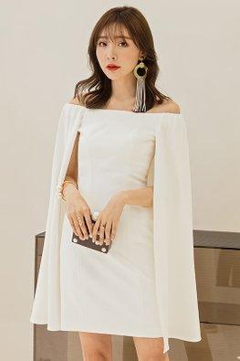 White Off-Shoulder Cape Sleeves Dress