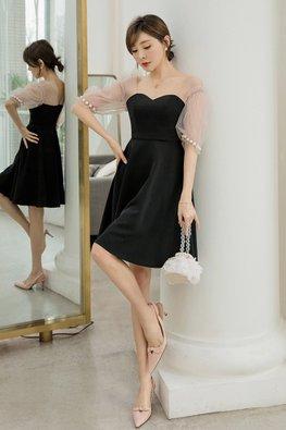 Black Sweetheart Illusion Mesh Pearl Sleeves Dress