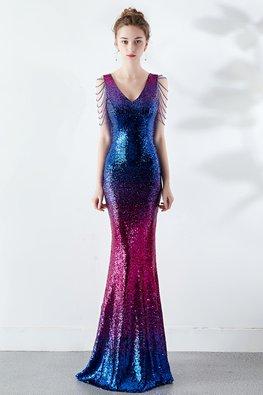 Blue Red V-Neck Beaded Tassels Sleeves 2-Tone Mermaid Dress