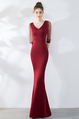 Wine Red / Green V-Neck Beaded Illusion Elbow Sleeves Gown