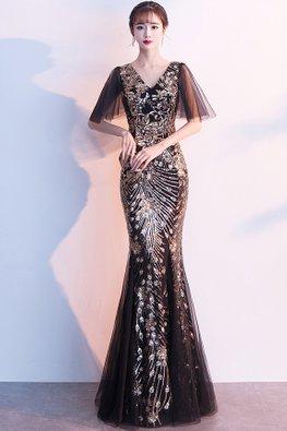 Black Gold V-Neck Wide Sleeves Peacock Sequins Mermaid Dress