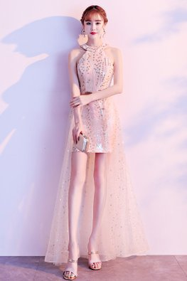 Gold Halter Neck Twinkle Illusion Tulle Gown