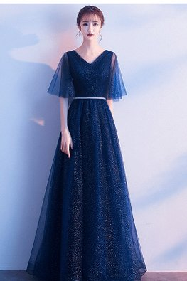 Navy Blue V-Neck Wide Illusion Sleeves Glitter Gown