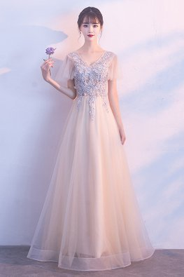 Champagne V-Neck Wide Sleeves Lace Embroidery Tulle Gown