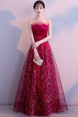 Wine Red Rose Lace Embroidery Strip Sequins Gown