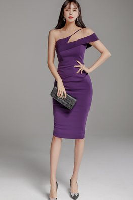 Purple One-Shoulder Cut-Out Design Dress