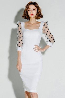White Square Neckline Illusion Polka Dot Sleeves Dress