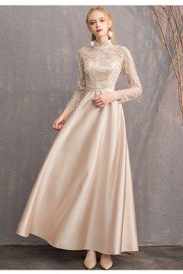 Khaki Mandarin Collar Illusion Long Sleeves Gown