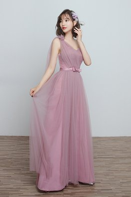 Dusty Pink Sweetheart One-Shoulder Lace-up Gown