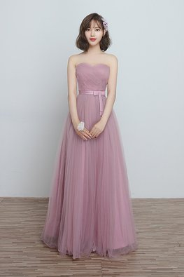 Dusty Pink Sweetheart Ribbon Lace-up Gown