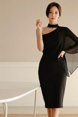 Black Choker Toga Side Sleeves Dress