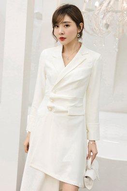 White V-Lapel Collar Long Sleeves Irregular Dress