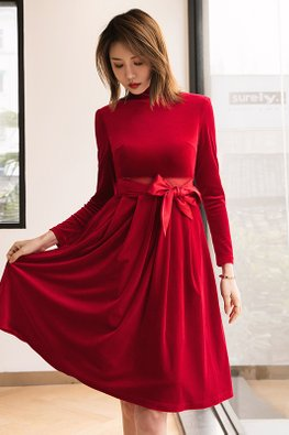 Red High Neck Long Sleeves Front Ribbon A-Line Dress