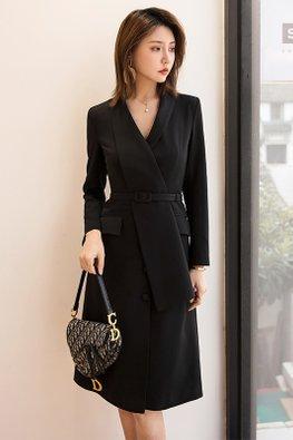 Black V-Lapel Long Sleeves Belted Dress