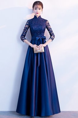 Blue Mandarin Collar Lace Sleeves Ribbon Front Gown