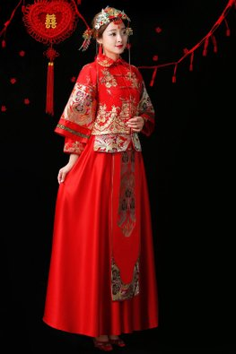 Red Double Sleeves Collar Embroidery Kua