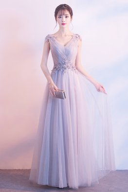 Grey / Pink V-Neck Floral Lace Embellishments Mesh Gown