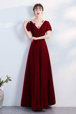 Wine Red V-Illusion Neckline 3D Embellishments Velvet Gown