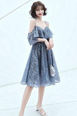Blue Overlay Shoulder-Tie Sequin-Lined Dress