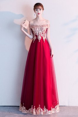 Wine Red Off-Shoulder Embroidery-Lined Gown