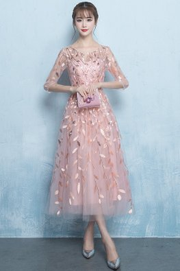 Nude Pink Illusion Neckline Leaf Sequins Embroidery Gown (Express)