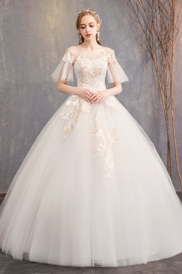White Illusion Short Wide Sleeves Embroidery Wedding Gown