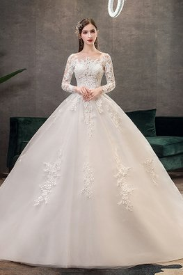 White Illusion Long Lace Sleeves Wedding Gown