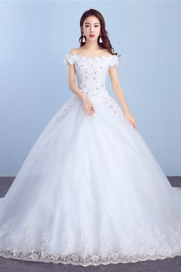 White Off-Shoulder 3D Floral Sequins Wedding Gown