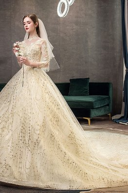 Champagne Illusion Mandarin Collar Long Sleeves Wedding Gown