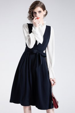2-pc Ruffle Neck Top And Dark Blue V-Cut Ribbon Dress