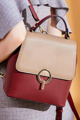 Khaki Red 2-Tone Mini Bagpack