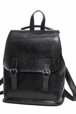 Black / Light Grey Double Buckle Flap Bag
