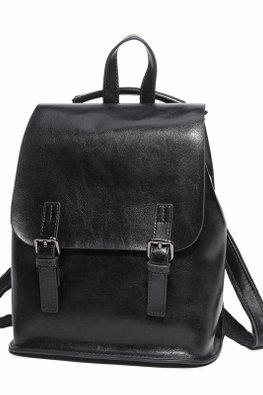 Black / Light Grey Double Buckle Flap Bag