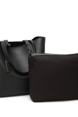 Black / Blue Large Tote Bag + Inner Pouch