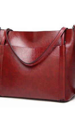 Brown / Wine Red Outer Pocket 2-Way Hand & Shoulder Bag