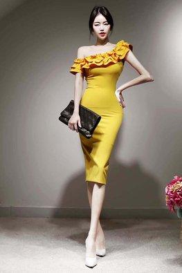 Yellow One-Shoulder Ruffles Sheath Dress