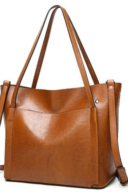 Brown / Wine Red Outer Pocket 2-Way Hand & Shoulder Bag