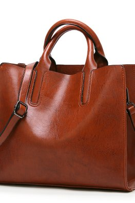 Blue / Brown Squarish 2-Way Hand & Shoulder Bag