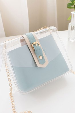 Pastel Blue / Pink 2-in-1 Transparent Chain Sling Bag
