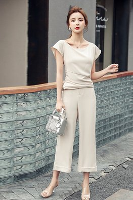 2-Pc Almond Wide Neck Top + Loose-Fit Pants