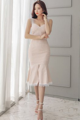 2-Pc Sweetheart Checkered Top + Mermaid Skirt (Express)