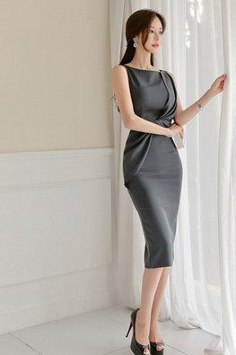 Dark Grey Wide Neck Front-Tie Detail Dress