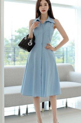 Blue Collar Button Down A-Line Dress