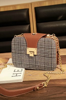 Assorted Colours Checkered Buckle Flap Chain Sling Bag