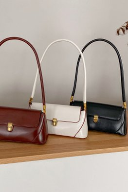 Assorted Colours Buckle Long Handle Shoulder Bag