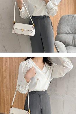 Assorted Colours Buckle Long Handle Shoulder Bag
