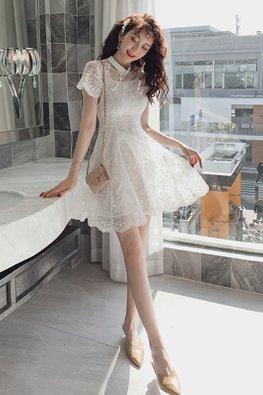 White Mandarin Collar Illusion Lace Dress