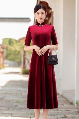 Red / Black Mandarin Collar A-Line Velvet Cheongsam